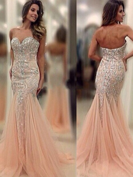 Stylish Trumpet/Mermaid Sleeveless Sweep/Brush Sweetheart Train Beading Tulle Dresses