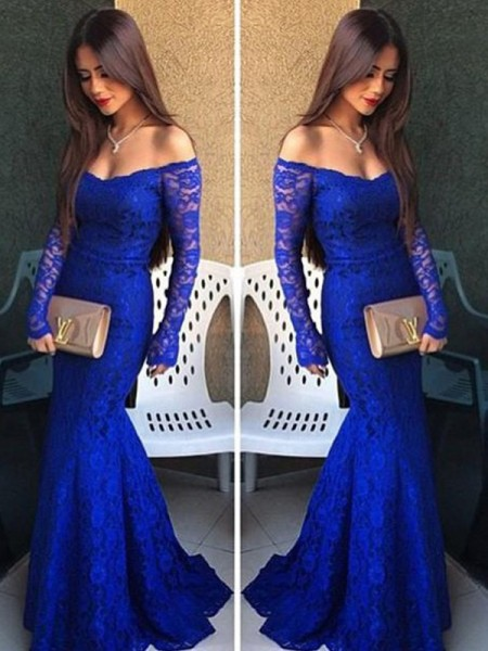 Fashion Trumpet/Mermaid Long Sleeves Lace Off-the-Shoulder Floor-Length Dresses