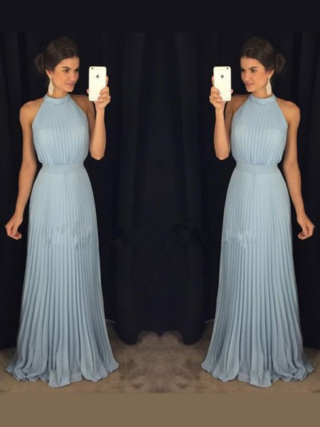 Stylish A-Line/Princess High Neck Pleats Sleeveless Floor-Length Chiffon Dresses