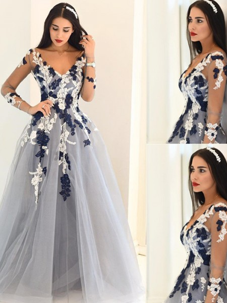 Stylish A-Line/Princess Long Sleeves Applique V-Neck Tulle Floor-length Dresses