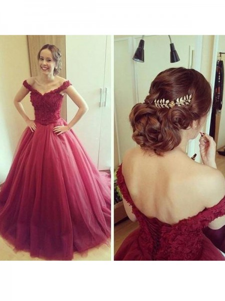 Fashion Ball Gown Applique Sleeveless Off-the-Shoulder Floor-Length Tulle Dresses