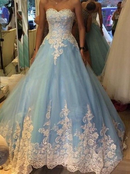 Stylish Ball Gown Applique Sleeveless Sweetheart Tulle Floor-Length Dresses