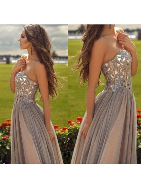 Fashion A-Line/Princess Sleeveless Chiffon Sweetheart Beading Floor-Length Dresses