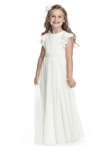 Fashion A-line/Princess Floor-Length Chiffon Sleeveless Scoop Flower Girl Dresses