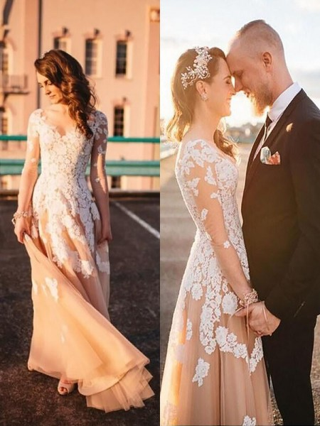 A-Line/Princess Tulle V-neck Long Sleeves Lace Sweep/Brush Train Wedding Dresses