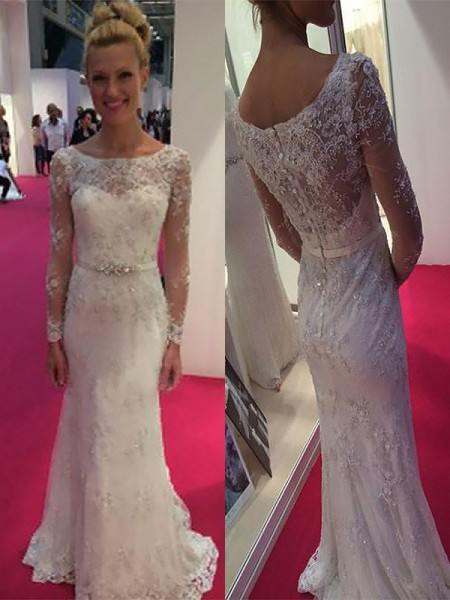 Sheath/Column Scoop Long Sleeves Lace Chiffon Sweep/Brush Train Wedding Dresses