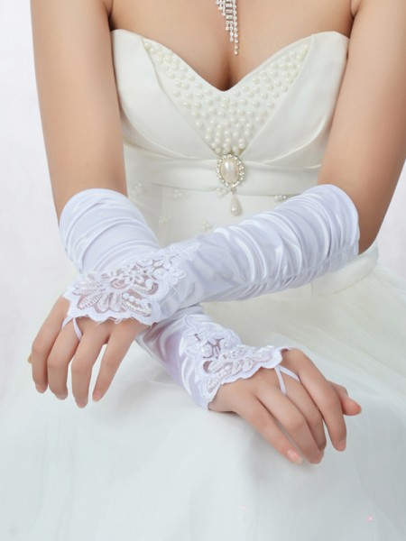 The Most Stylish Romantic Lace Satin Beading Wedding Gloves