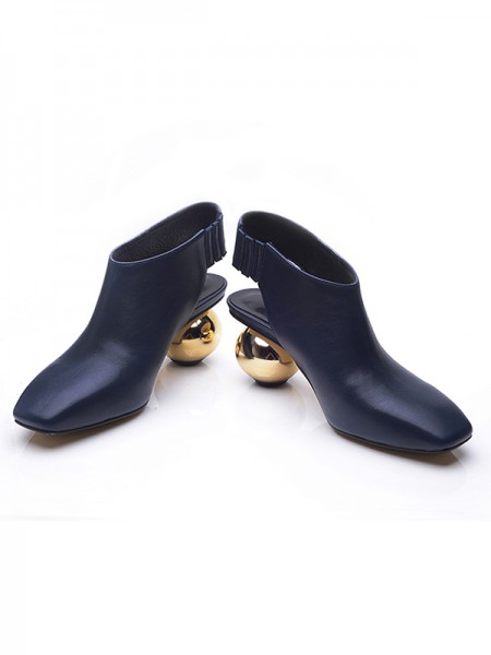 Fashion Trends Women's Closed Toe Cattlehide Leather Round Heel Booties/Ankle Dark Navy Boots
