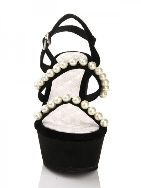 The Most Trendy Women's Flock Wedge Heel With Pearl Platform Peep Toe Wedges Shoes