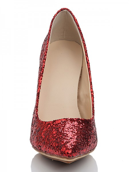 The Most Fashionable Women's Elastic Leather Closed Toe Spool Heel With Sequin High Heels