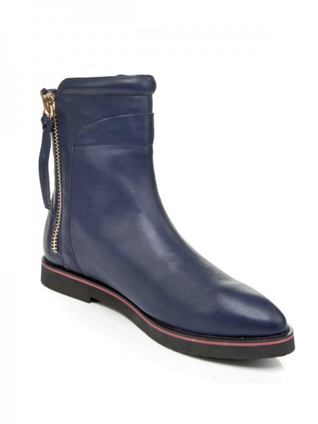 The Most Stylish Women's Cattlehide Leather Flat Heel Closed Toe With Zipper Booties/Ankle Dark Navy Boots