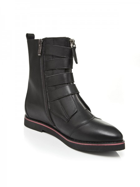 The Most Stylish Women's Flat Heel Closed Toe Cattlehide Leather With Zipper Mid-Calf Black Boots