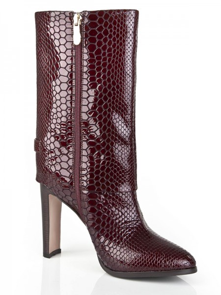 The Most Fashionable Women's Chunky Heel Cattlehide Leather Closed Toe Mid-Calf Burgundy Boots