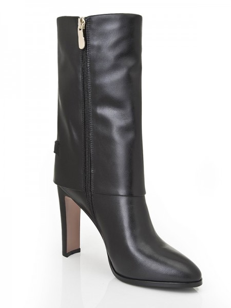 The Most Fashionable Women's Chunky Heel Closed Toe Cattlehide Leather Mid-Calf Black Boots