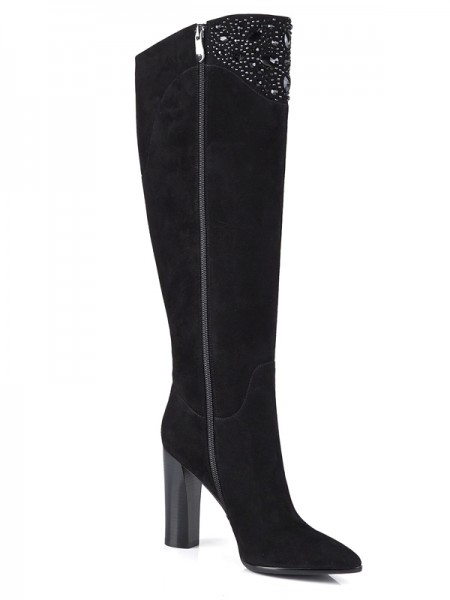 The Most Fashionable Women's Suede Chunky Heel Closed Toe With Rhinestone Knee High Black Boots