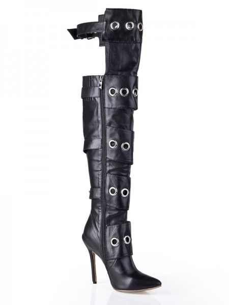 The Most Fashionable Women's Cattlehide Leather Stiletto Heel With Buckle Knee High Black Boots