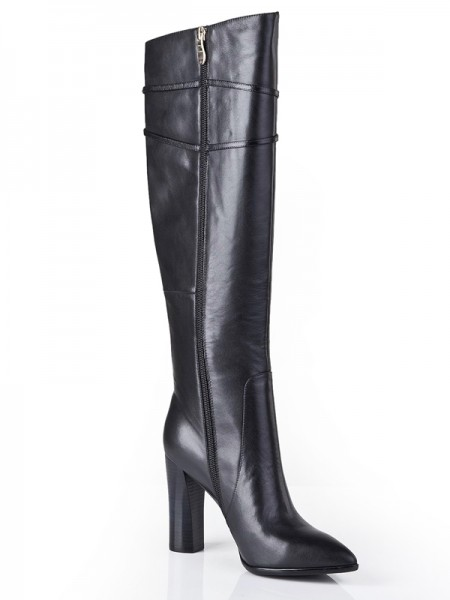 The Most Fashionable Women's Cattlehide Leather Chunky Heel With Zipper Knee High Black Boots