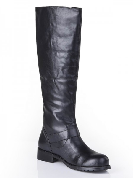 The Most Fashionable Women's Cattlehide Leather Closed Toe Kitten Heel With Buckle Mid-Calf Black Boots