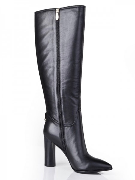 The Most Fashionable Women's Cattlehide Leather Closed Toe Chunky Heel With Zipper Mid-Calf Black Boots