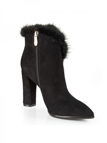 The Most Fashionable Women's Suede Closed Toe Chunky Heel With Rhinestone Booties/Ankle Black Boots