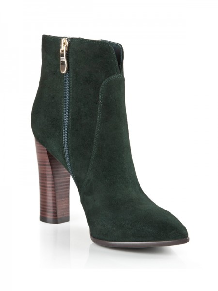 The Most Fashionable Women's Suede Closed Toe Chunky Heel With Zipper Booties/Ankle Hunter Green Boots