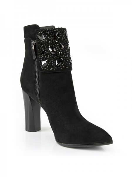 The Most Fashionable Women's Chunky Heel Suede Closed Toe With Rhinestone Booties/Ankle Black Boots