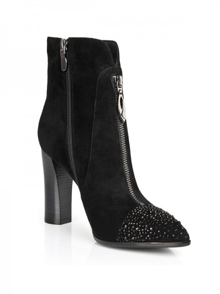 The Most Trendy Women's Suede Closed Toe Chunky Heel With Rhinestone Booties/Ankle Black Boots