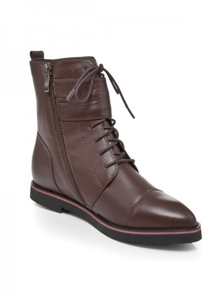 The Most Trendy Women's Cattlehide Leather Closed Toe Flat Heel With Lace-up Chocolate Booties