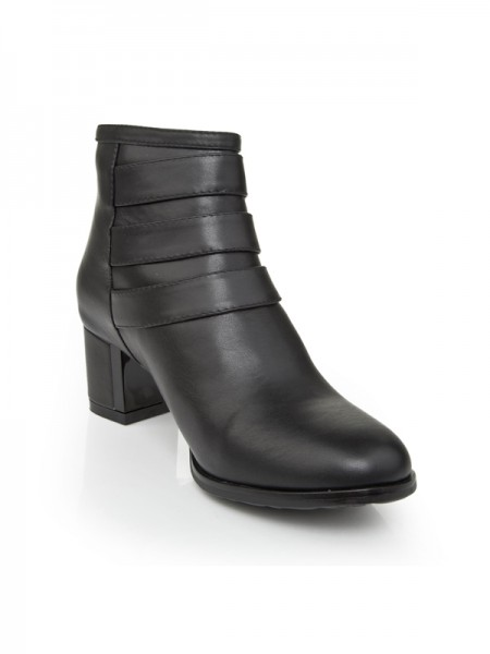 The Most Trendy Women's Kitten Heel Cattlehide Leather With Zipper Booties/Ankle Black Boots