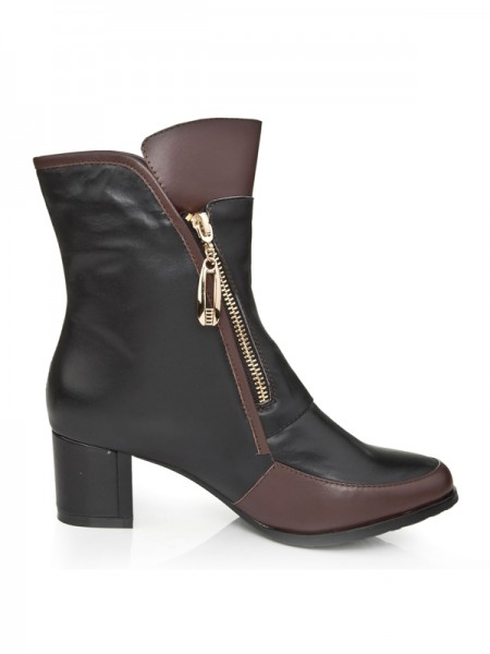 The Most Trendy Women's Cattlehide Leather Kitten Heel With Zipper Booties/Ankle Black Boots