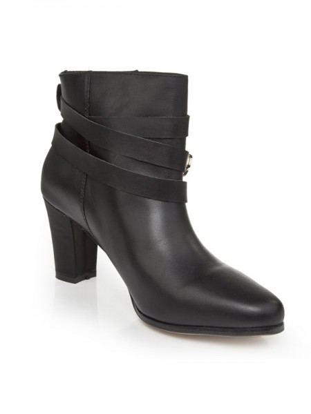 The Most Trendy Women's Cattlehide Leather Chunky Heel With Buckle Booties/Ankle Black Boots