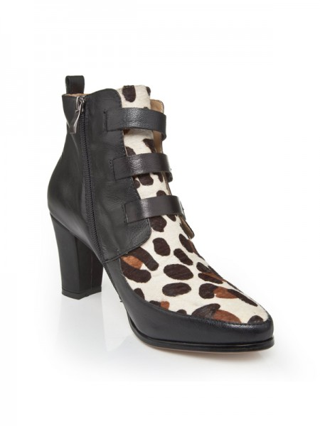 The Most Trendy Women's Chunky Heel Cattlehide Leather With Buckle Booties/Ankle Multi Colors Boots
