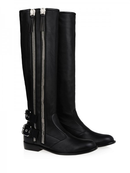 Fashion Trends Women's Kitten Heel Cattlehide Leather With Buckle Zipper Knee High Black Boots