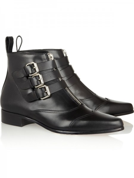 The Most Stylish Women's Flat Heel Closed Toe Cattlehide Leather With Buckle Zipper Black Booties