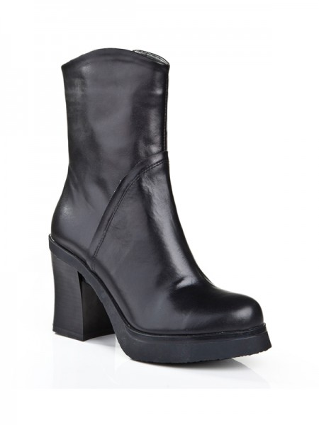 The Most Stylish Women's Cattlehide Leather Chunky Heel Closed Toe With Zipper Mid-Calf Black Boots