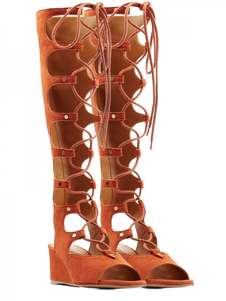 Fashion Trends Women's Wedge Heel Peep Toe Suede With Lace-up Sandal Knee High Orange Boots