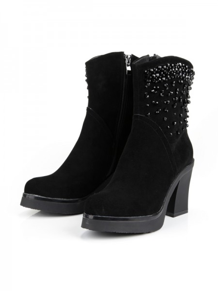 The Most Stylish Women's Chunky Heel Platform Closed Toe Suede With Zipper Mid-Calf Black Boots