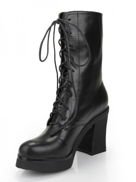 The Most Stylish Women's Chunky Heel Closed Toe Cattlehide Leather With Lace-up Mid-Calf Black Boots