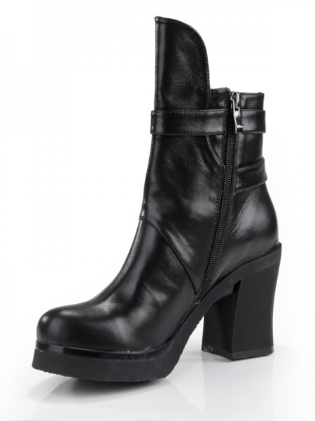 The Most Fashionable Women's Cattlehide Leather Chunky Heel Closed Toe With Zipper Mid-Calf Black Boots