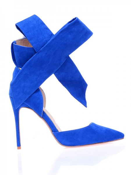 The Most Fashionable Women's Suede Closed Toe Stiletto Heel With Knot High Heels