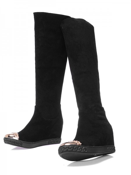 The Most Fashionable Women's Suede Closed Toe Wedge Heel Knee High Black Boots