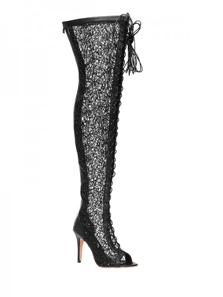 The Most Trendy Women's Lace Platform Peep Toe Stiletto Heel With Lace-up Over The Knee Black Boots