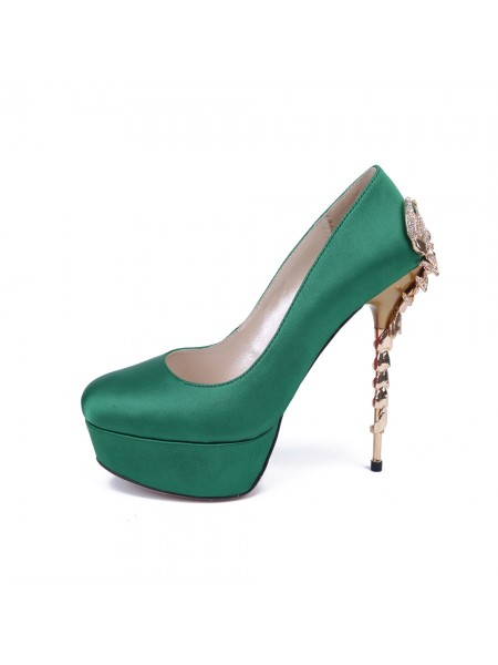 The Most Stylish Women's Stiletto Heel Platform Satin Closed Toe With Rhinestone Platforms Shoes