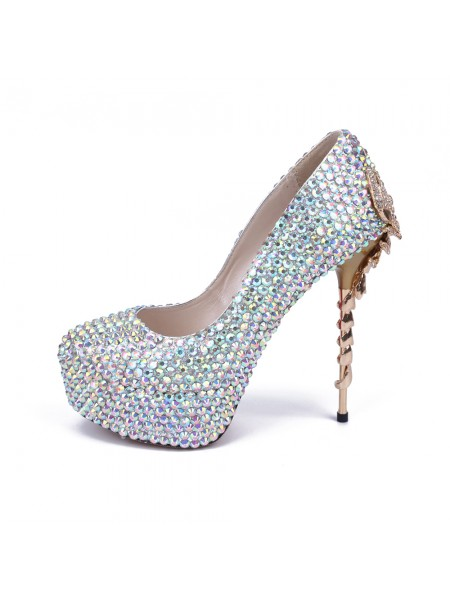 The Most Stylish Women's Stiletto Heel Platform Closed Toe With Rhinestone Platforms Shoes