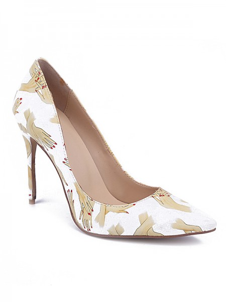 Fashion Trends Women's Closed Toe PU Stiletto Heel With Printing High Heels