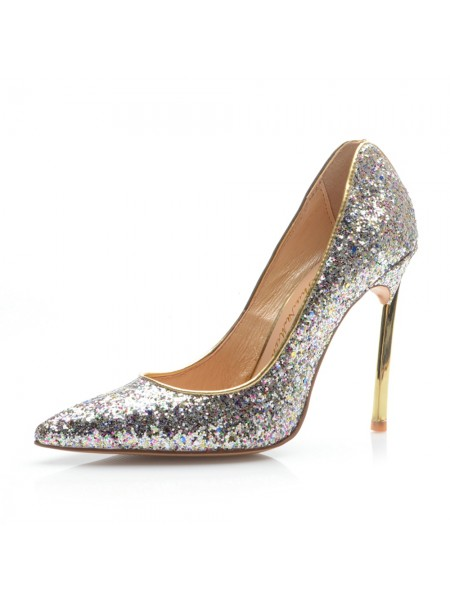 The Most Fashionable Women's Closed Toe Stiletto Heel With Sequin High Heels