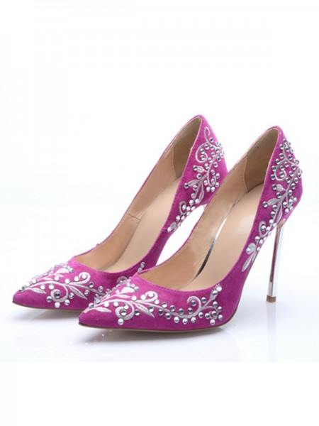 The Most Fashionable Women's Stiletto Heel Suede Closed Toe With Embroidery High Heels