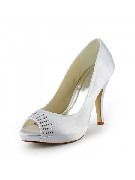 The Most Fashionable Women's Satin Stiletto Heel Peep Toe Platform White Wedding Shoes With Rhinestone