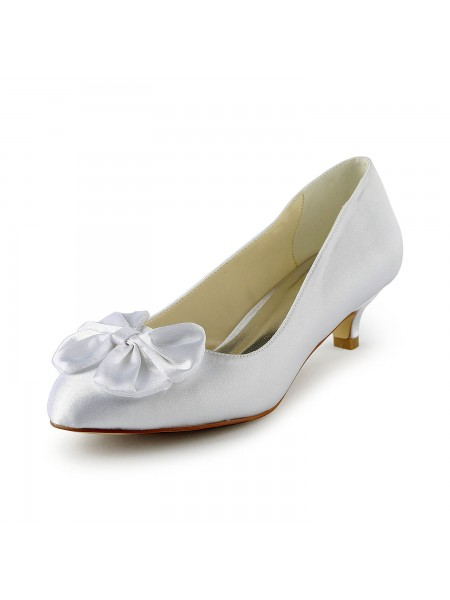 Fashion Trends Women's Satin Kitten Heel Pumps With Bowknot White Wedding Shoes