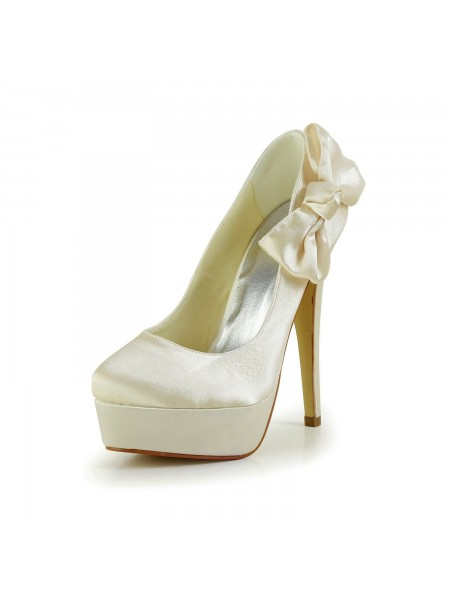 The Most Stylish Women's Satin Stiletto Heel Closed Toe Platform Champagne Wedding Shoes With Bowknot